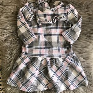 JANIE AND JACK Poodle Chic Pink/Gray Plaid Dress